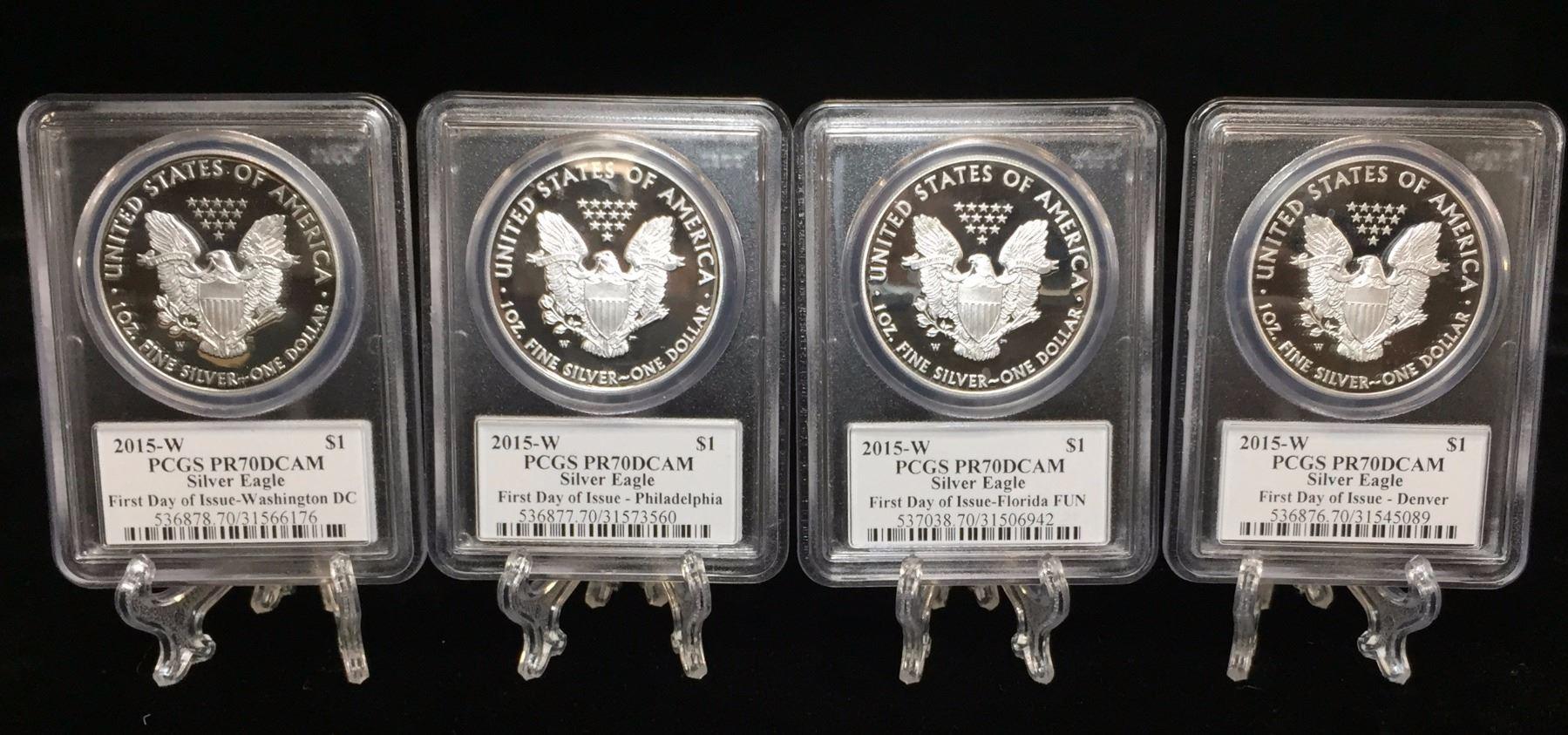2015 W 1 American Silver Eagle West Point Mint Pcgs Pr 70