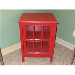 Red cabinet 1 door/glass