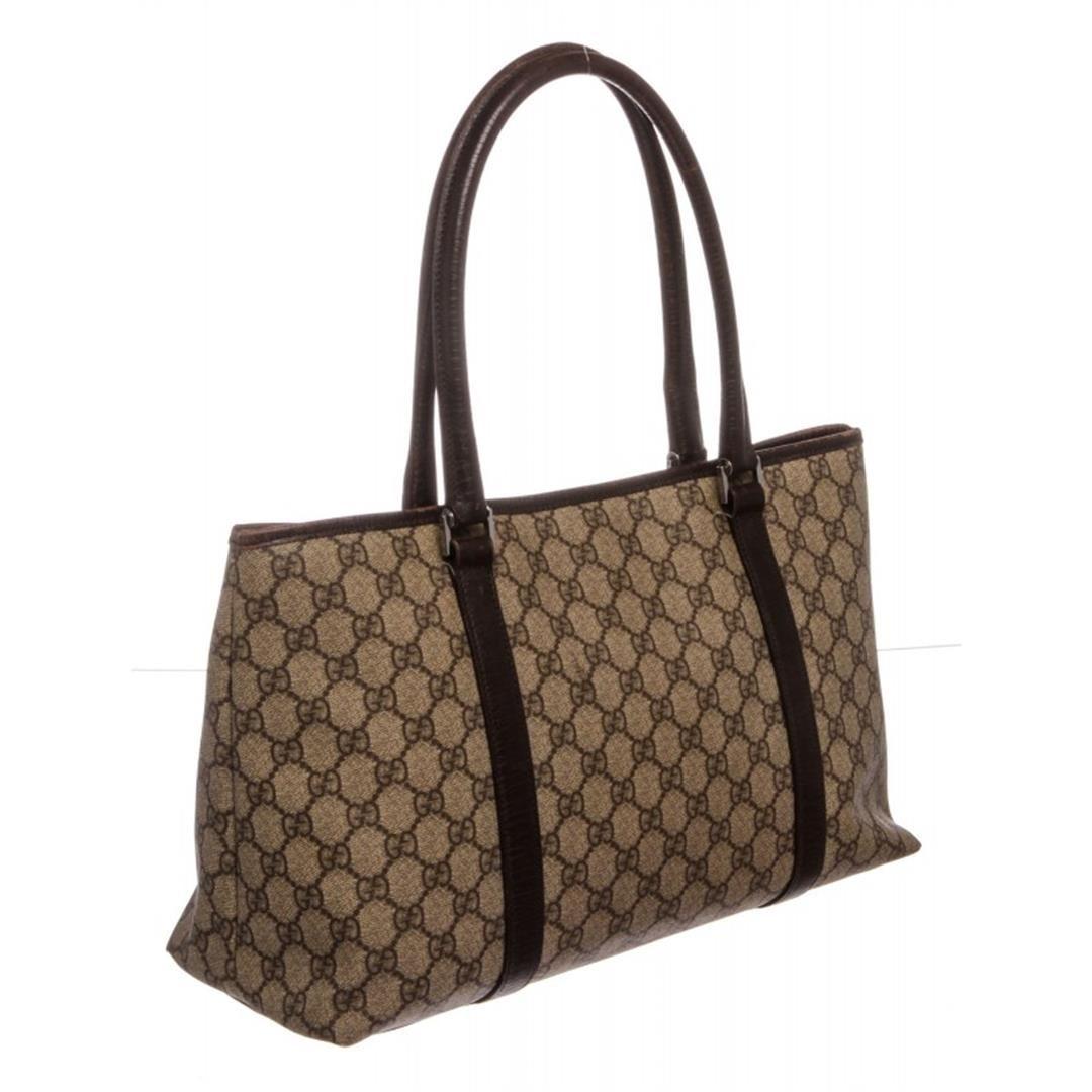 5722ba84bca0a7 ... Image 3 : Gucci Brown Beige GG Supreme Coated Canvas Monogram Tote Bag  ...