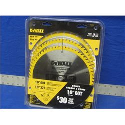 "New Dewalt 3 pack of 10"" blades."