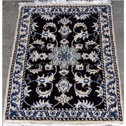 Nice Looking Dark Tone Wool/Silk Persian Nain 2x3