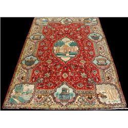 Rare Tribute to Saadi Semi Antique Persian Tabriz 8x12