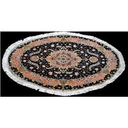 Oval Persian Tabriz With Silk Highlight