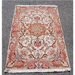 Fine Floral Handmade Silk Highlighted Persian Tabriz Rug