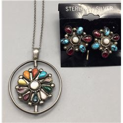 Multi-Stone Spinner Necklace and Earrings