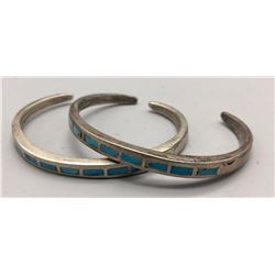 Pair of Turquoise Channel Inlay Bracelets