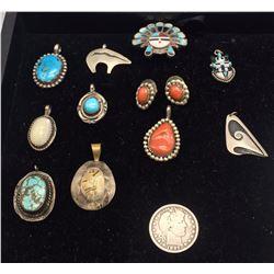 Group of Pendants - Pin - Earrings