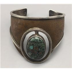 Turquoise, Sterling and Copper Overlay Bracelet