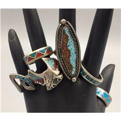 Group of 6 Vintage Inlay Rings