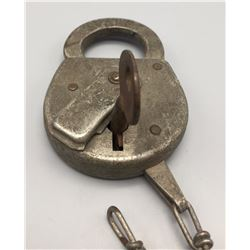 Vintage AT&SF Railroad Lock with Key