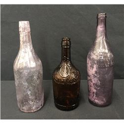 3 Old Whiskey Bottles From Relics Museum