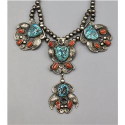 Vintage Turquoise and Coral Necklace