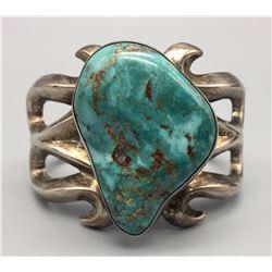 Large Turquoise Stone Sandcast Bracelet