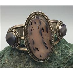 Moss Agate Cuff Bracelet