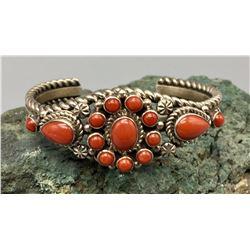 Multi Stone Coral Cuff Bracelet