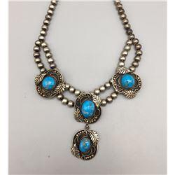 Vintage Turquoise Cabochon Necklace