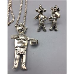 Sterling Silver Mudhead Necklace - Earrings