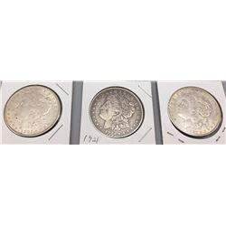 Group of Three Morgan Silver Dollars