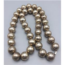 Large Sterling Silver Bead Necklace