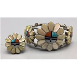 Zuni Inlay Bracelet and Ring - Laahte
