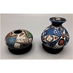 Pair of Mata Ortiz Polychrome Pots