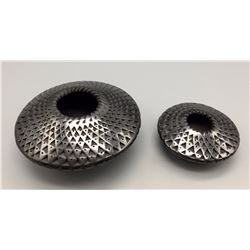 Pair of Gun Metal Finish Mata Ortiz Pots
