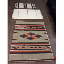 Vintage Chimayo Weaving and 2 Mexican Blankets