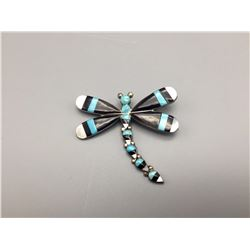 Turquoise and Onyx Dragonfly Pin