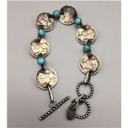 Silver Dimes and Turquoise Link Bracelet