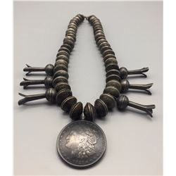 Heavy Dime Bead Squash Blossom Necklace