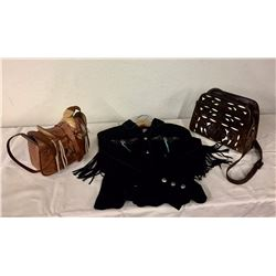 2 Vintage Purses and Scully Leather Coat