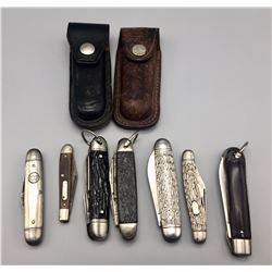 Group of Pocket Knives and Sheaths