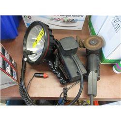 Grinder, Spot Light & 12 Volt Air Compressor