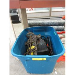 Bin of Tools, Power Booster, Drill Press Vice & More