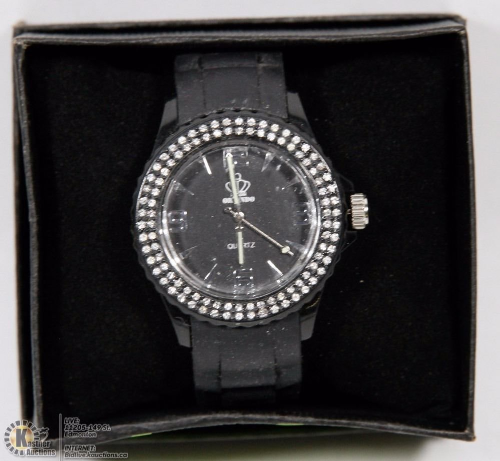 ORLANDO QUARTZ FASHION WATCH WITH CRYSTAL BEZEL -