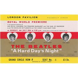 Beatles 1964 A Hard Day's Night Premiere Ticket