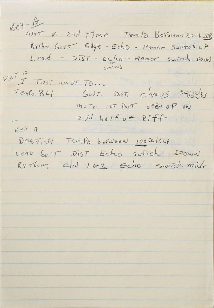 Brad Delp's Handwritten Lyric Notebook