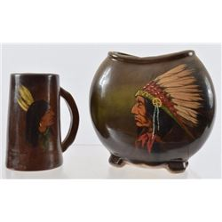 Weller Indian Chief Pottery & Stein