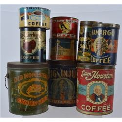 Sam Houston, Indian, & Texas Coffee Tin Collection