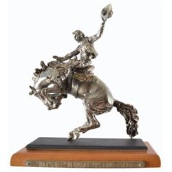 Diamond Encrusted Silver Bronc Rider Statue