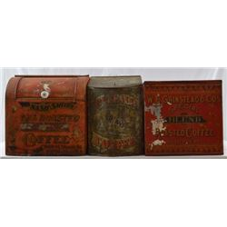 3 Large Country Store Coffee Tins