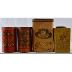 Collection Of Antique Cocoa Tins