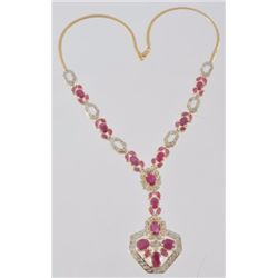14kt Yellow and White Gold Ruby & Diamond Necklace