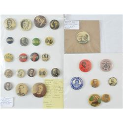 28 Vintage Political Related Pinbacks