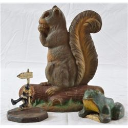 Cast Iron Squirrel Doorstop, Frog, and Ashtray
