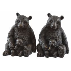 Two Sitting Bear Bronzes