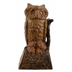 Owl Cast Iron Mechanical Bank