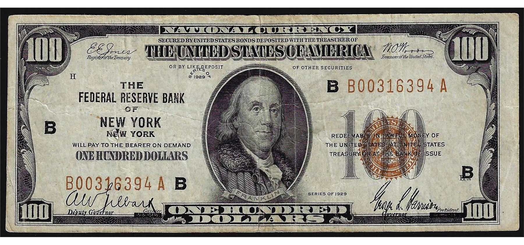 1929 $100 Federal Reserve Bank of New York National Currency Note