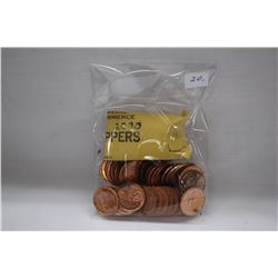 Canada One Cent Coins (50) 2000 - Original Bank Roll (High Lustre)