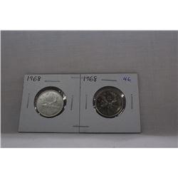 Canada Twenty-five Cent Coins (2) 2(1968) 1- Silver